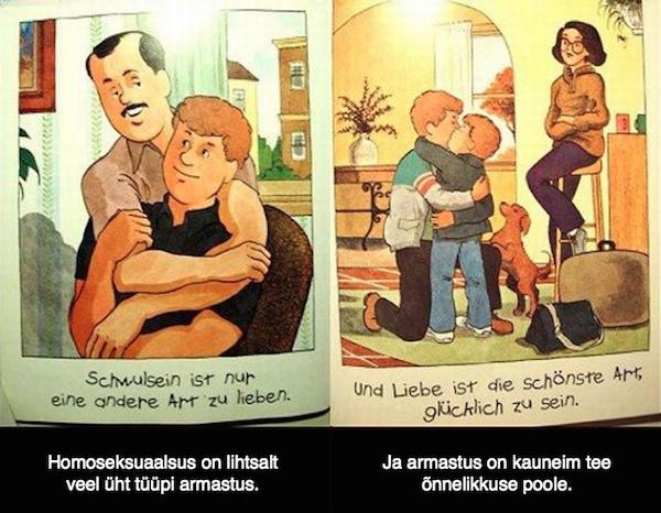 Näide homosuhteid normaliseerivatest õppematerjalidest, mida mitmetes lääneriikides koolides laste hoiakute suunamiseks kasutatakse.