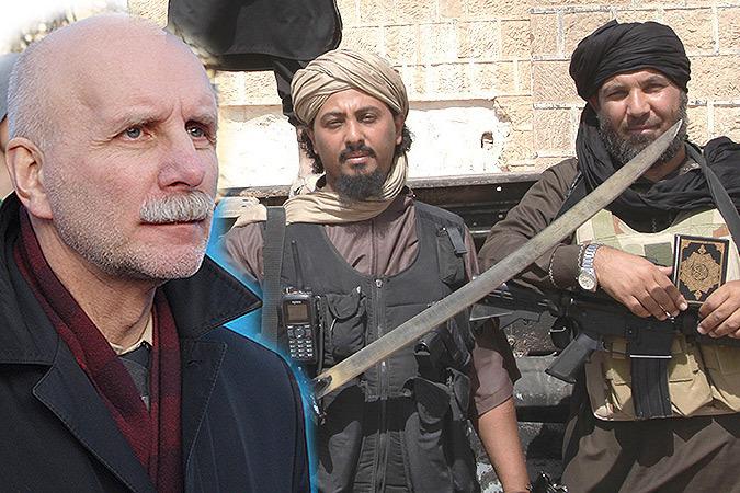 Fotomontaaž Rolandas Paulauskasest koos islamivõitlejatega