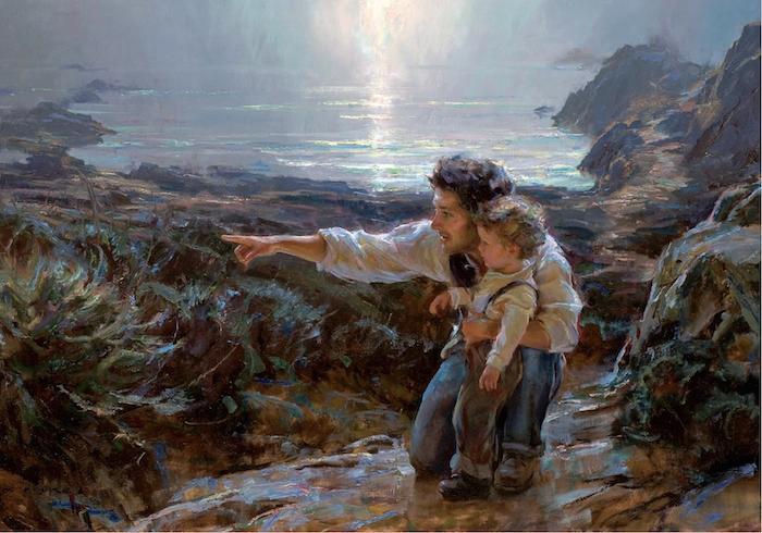 """Näide kalendris """"Aastaring voorustega"""" kasutatud maalidest, mille autoriks on Daniel F. Gerhartz. Antud maal pealkirjaga """"Imestus"""" ilmestab juunikuud ning selle juures on mõtestatud lahti au vooruse tähendust ja tähtsust."""