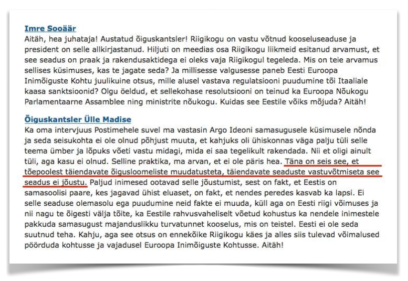 Väljavõte Riigikogu 22. septembri 2015 istungi stenogrammist