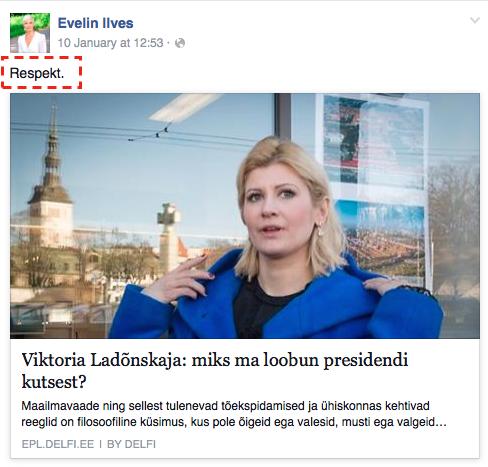 Evelin Ilves avaldab Viktoria Ladõnskajale austust.