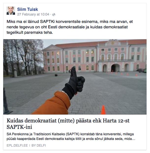"""Artiklit ilmestav pilt kommentaariga: """"Sots Siim Tuisk, kes oli üks """"Harta 12"""" eestvedajatest, on juba jõudnud toonitada, nagu oleks SAPTK püüdlus seista rahvaalgatuse taastamise eest ohuks Eesti demokraatiale."""""""