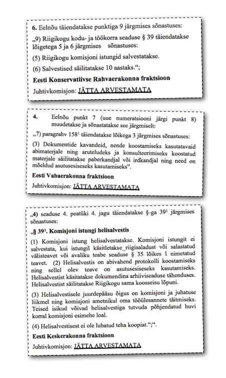 Väljavõte Riigikogu kodu- ja töökorra seaduse muutmise seaduse muudatusettepanekutest.