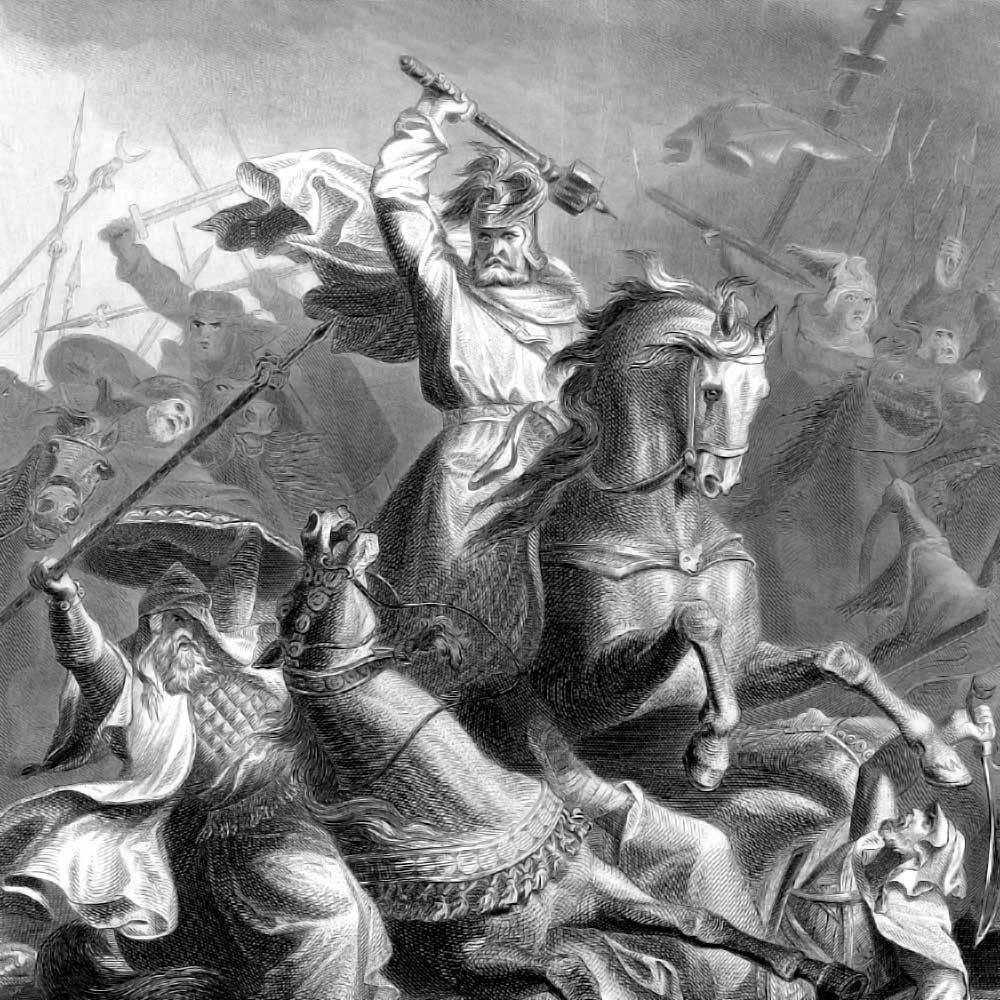 Frangi vägede juht Karl Martell kujutatuna lahinguolukorras.
