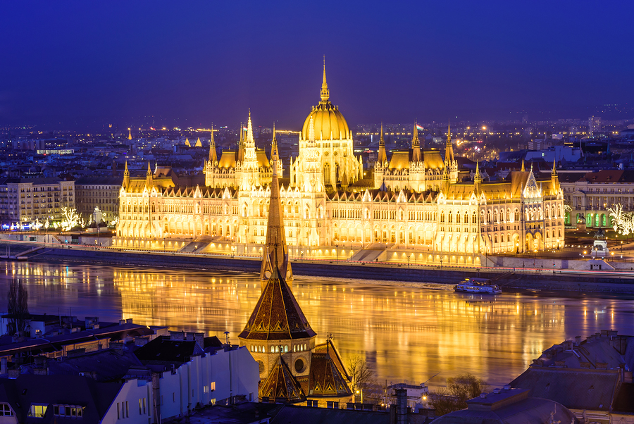 Beautiful Night View Of Budapest. The Parliament And The Danube